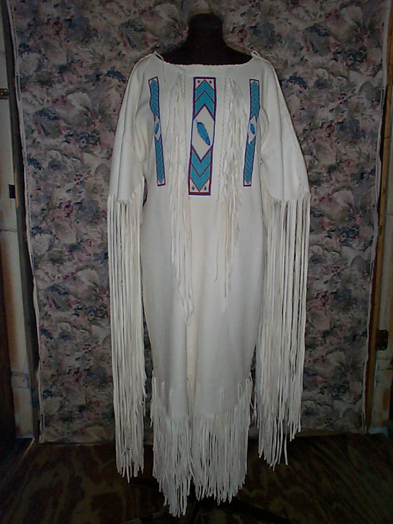 dress feather beadwork