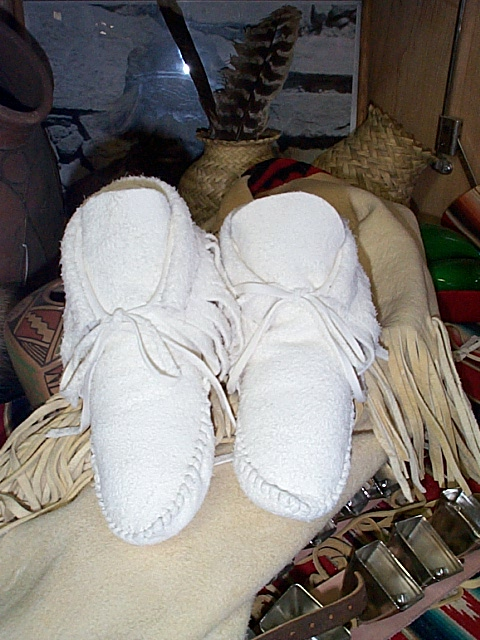 ankle high white moccasins