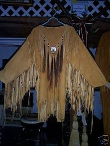 warshirt suede with horse hair tassels, tin cones, glass beads and a abolone dis